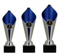 Lote 3 copas  azul y plateadas 22, 20,18 cm
